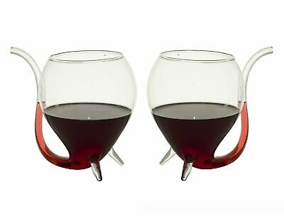 NEW WINE SIPPERS Set 2 Glass Gift Boxed White Red Wine Pipe Liqueurs Sipper Cup