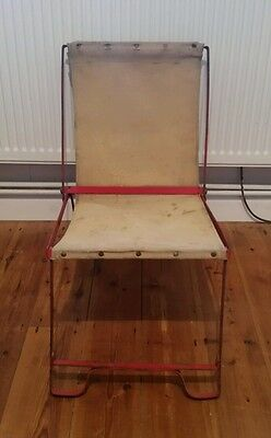 Vintage Children's c1940s Theatre Deck Chair Canvas & Red Metal Foldable S2