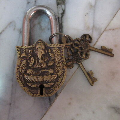 Antique lock Vintage Brass Old Padlock double keys Ganesha Hinduism God Ohm Word