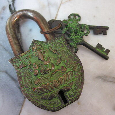 Antique lock Brass Old Vintage Padlock double keys Hinduism God Ganesha Ohm Word