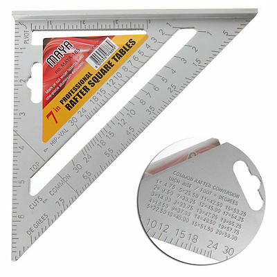 "7"" Square Carpenter's Measuring Ruler Layout Triangle Angle Protractor  Tool"