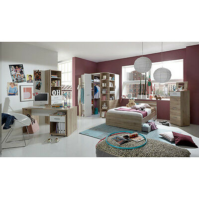 jugendzimmer set joker bett 140x200 san remo eiche wei kleiderschrank begehbar eur 729 95. Black Bedroom Furniture Sets. Home Design Ideas