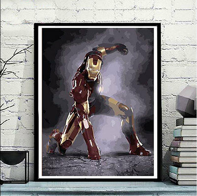 Framed Painting by Number kit Iron Man Marvel Comics Superhero Movie DIY JC7516