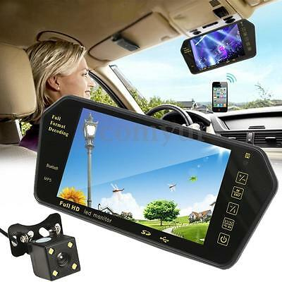 7'' HD LCD MP5 Bluetooth Car Rear View Parking Mirror Monitor + Reversing Camera