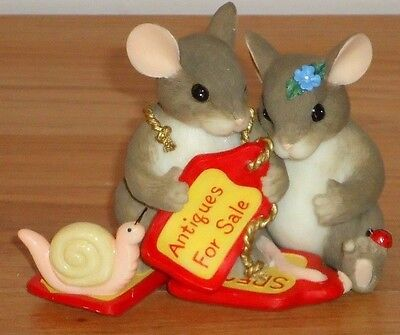 Charming Tails LOVE IS TIMELESS mice w/Snail Figurine by Fitz and Floyd NIB