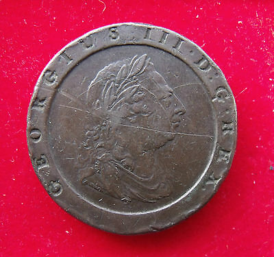 1797 George III  Copper Cartwheel Twopence Piece Early Milled British coins