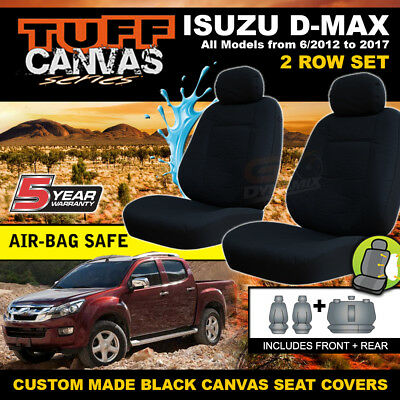 TUFF CANVAS BLACK Isuzu D-MAX TF CREW CAB Seat Covers 2ROWS 06/2012-18 DMAX