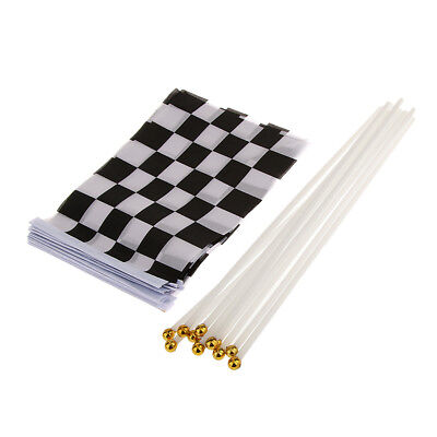 Lot 12Pcs Black White Chequered Racing Hand Waving Flag Party Supply Sports