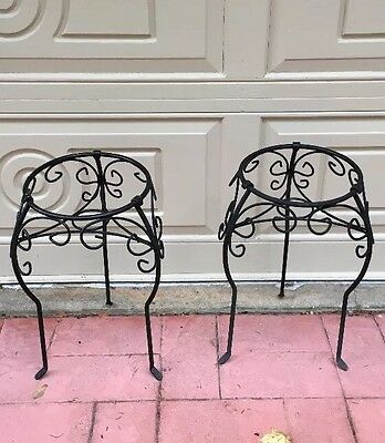 2 Wrought Iron Plant Stands/ Flower Pot Holders ( MATCHING PAIR ) 24 Inches Tall