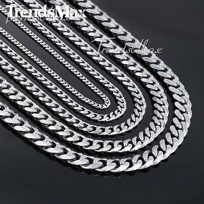 Trendsmax Fashion 3/5/7/9/11mm Wide Necklace Curb Cuban Link Silver Color Stainl