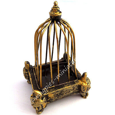 Dolls house 12th scale Golden Birdcage with Decorative Base Dolls House Emporium