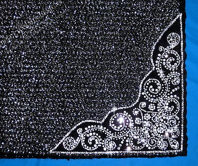 JCD~BLACK SILVER BLING 38x35 WOOL SHOW SADDLE BLANKET PAD WESTERN SHOWMANSHIP