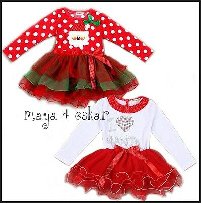 Baby Girls Christmas Xmas I love Santa Tutu Dress Fancy Outfit 2 3 4 5 6 7 yrs