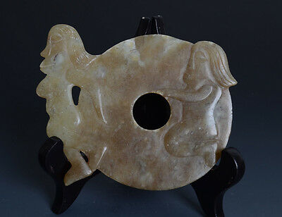 Chinese QiJia Style Male with Female Pattern Sacrificial Vessel Jade Bi-JR10269