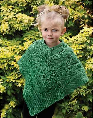 100% Merino Wool Kids Green Coloured Poncho With Aran Knitted Design