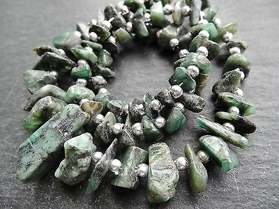 "ROUGH EMERALD NUGGETS, approx 5x8mm - 10x16mm, 16"" strand with spacers, 50 beads"