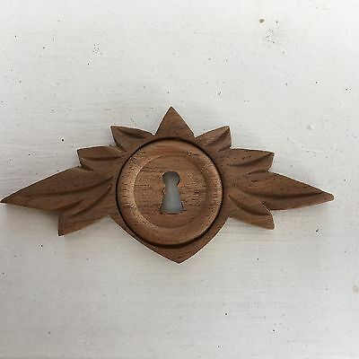 Victorian Eastlake Wooden Leaf Keyhole Cover Walnut