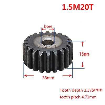 1.5Mod 20T 45# Steel Motor Spur Pinion Gear Outer Dia 33mm Thickness 15mm Qty 1