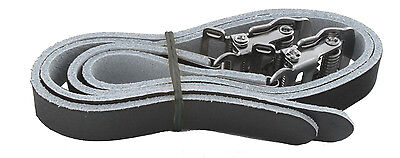 Riva Sport Genuine Leather pedal straps for toe clip bicycle pedals, black