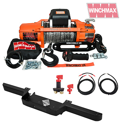 LAND ROVER DEFENDER 13500lb WINCHMAX SL SYNTHETIC ROPE WINCH + BUMPER COMBO KIT