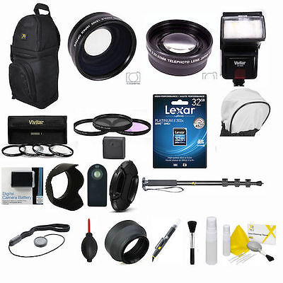 Canon Rebel T5 & EOS 1200D LENS FILTER FLASH 32GB PROFESSIONAL ACCESSORY KIT