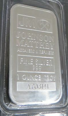 JOHNSON MATTHEY 1oz (OUNCE) 999 PURE FINE SILVER NUMBERED BULLION BAR (SEALED)