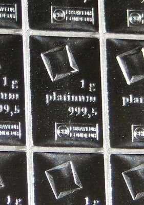 5g GRAM STRIP OF 5 X 1g GRAMS OF 999,5 FINE PLATINUM VALCAMBI SWISS BULLION BAR