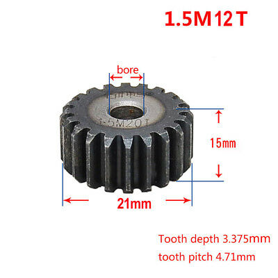 1.5Mod 12T 45# Steel Motor Spur Gear Outer Diameter 21mm Thickness 15mm Qty 1