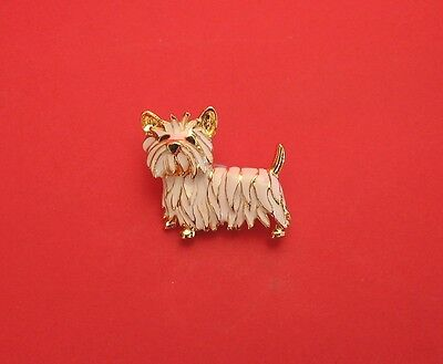 Gold Plated and Enamelled West Highland Terrier Brooch Westie Dog Christmas Gift