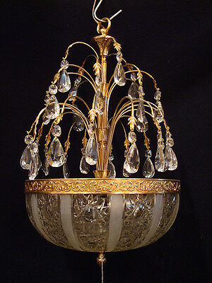 Antique Solid Bronze & Crystal Chandelier Ceiling Light