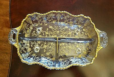 "Cambridge Rose Point footed Gold Encrusted divided relish dish 12 1/4"" by 7 1/2"""