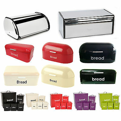 Bread Bin Kitchen Storage Loaf Roll Box Vintage Tea Coffee Sugar Jars Steel Tin