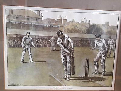 c1910 Ranjitsinhji at the Wicket Antique framed print by ST Dadd Sussex v MCC