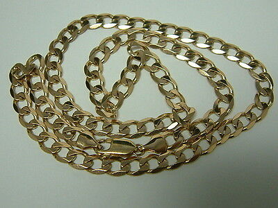 Solid 9Ct Yellow Gold Faceted Curb Linked Chain - 20.5 Inches -  23 Grams