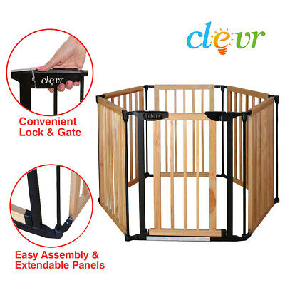 New Clevr 3-in-1 Baby 6 Panel Playard Wooden Gate Fence Playpen