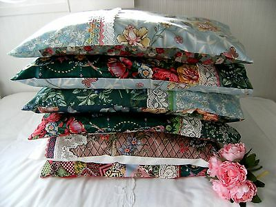 Handmade Pillow case Upcycled Laura Ashley Cotton, Vintage & New Fabrics  & Trim