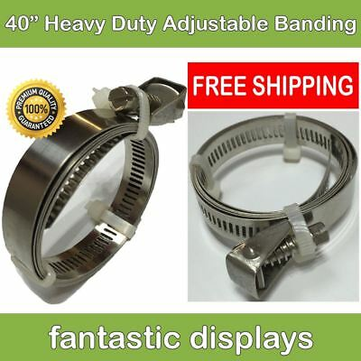 "40"" Hose Clamp Quick Release Pole Banner Banding Heavy Duty Stainless Steel​ XL"