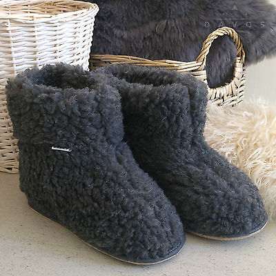 New  Women's Men's Grey Natural Sheep Wool Snug Slippers Hard Rubber Sole Boots