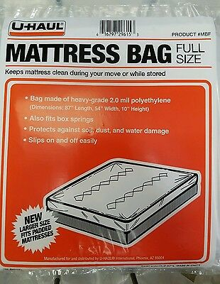 New in Package U-HAUL Moving Full Size Mattress Bag Plastic Cover