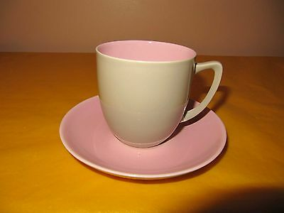 BRANKSOME Grey&Pink CUP&SAUCER , tiny white spray blemishes on saucer (0.2/116)