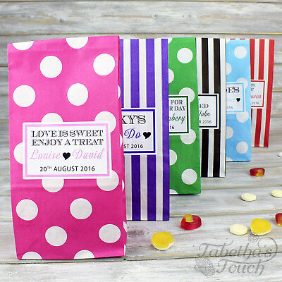 Personalised Pick N Mix Sweet Bag Wedding Favour Gift | Candy Stripe | Polka Dot