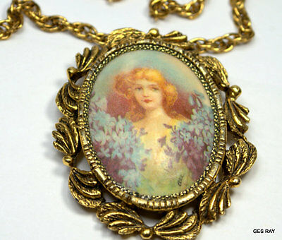 Victorian Style Vintage Hand Painted Signed Cameo Necklace