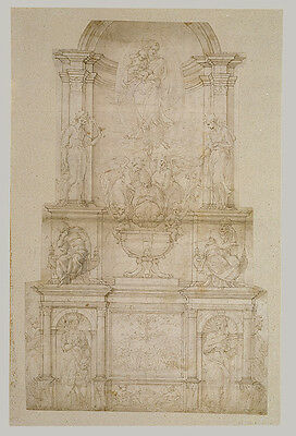 Michelangelo First Design For Wall Tomb For Julius Ii Michelangelo