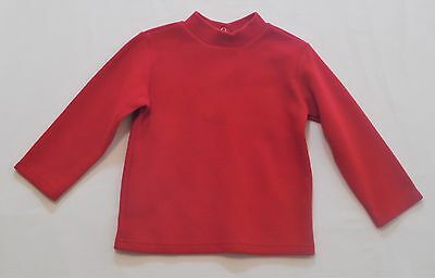 Le Top Mock Turtleneck LS Red Ribbed Top, 3T