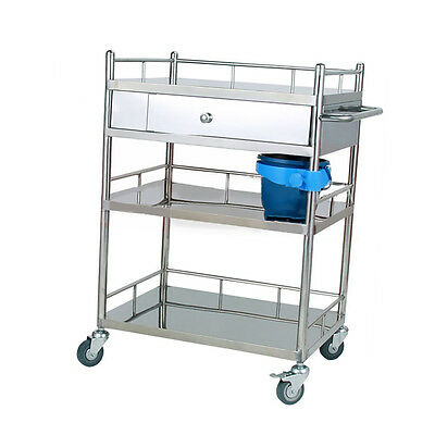 Super High Quality Stainless Steel Medical Cart Three Layer Drawer Trolley H215