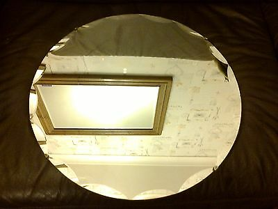 Large Frameless Round Art Deco Mantle Bevelled Mirror Wood Back Rope Cord