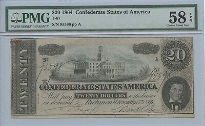 1864 $20 Confederate staes of America Note T-67 PMG AU58EPQ Choice About Unc