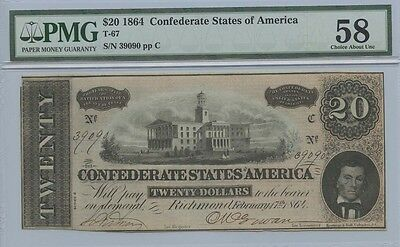 1864 $20 Confederate staes of America Note T-67 PMG AU58 Choice About Unc