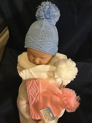 Baby Babies Bobble Hat Pink White Blue Boys Girls Winter Hats 0-12 months Cable
