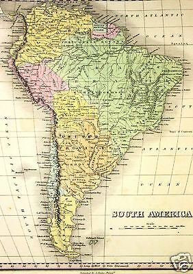 Orig Antique Map 1827 - South America Patagonia United Provinces Hand Colored
